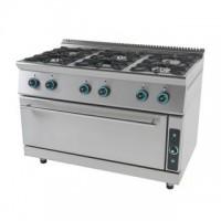 Κουζίνα υγραερίου με εστίες και ενιαίο φούρνο