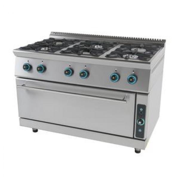 Κουζίνα υγραερίου 6 εστίες και ενιαίο φούρνο FC6FLS7-ΣΕΙΡΑ 750